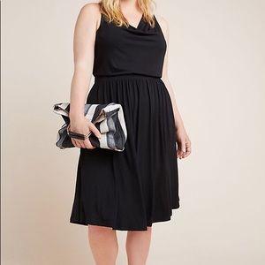 Anthro Maeve Plus Brianne Cowl Neck Dress Black 1X